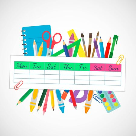 school banner with a weekly schedule from the diary and stationery. pens, pencils, scissors, ruler, brushes.