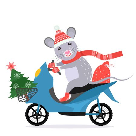 funny little rat in santa claus costume rides a moped with a christmas tree and a full bag of gifts. Иллюстрация