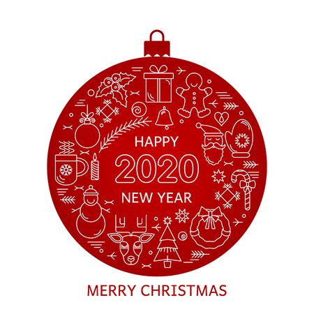 Red greeting card Merry Christmas and Happy New Year 2020. Ilustração