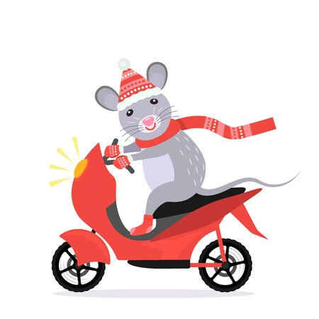 Lustige kleine Ratte mit einem Lächeln im Gesicht in einem Kostüm des Weihnachtsmannes fährt Motorrad. 2020 Jahr der Ratte nach dem chinesischen Kalender. flache Vektorillustration. gemischte Medien Vektorgrafik