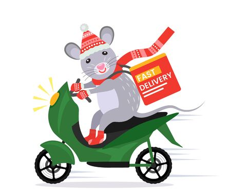 A funny rat in a Santa Claus costume provides fast and free delivery on a scooter in a box. 2020 year of the rat. Cartoon vector illustration Catering.