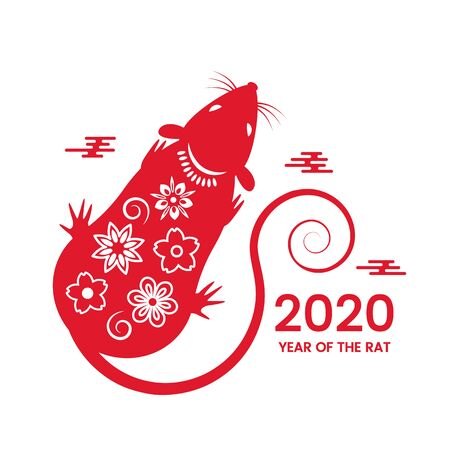 The white rat is a symbol of 2020, the Chinese New Year. Wish in Chinese - Happy New Year. Template banner, poster, greeting cards. vector illustration