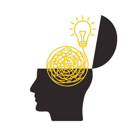 The mans head is open. in the brain from chaos, an idea is born and a way out of a difficult situation. flat vector illustration in linear style isolated on white background