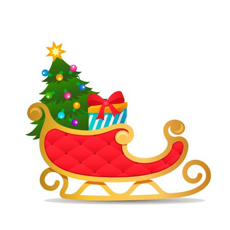 Gold and red sleigh Santa Claus with gifts and a Christmas tree with a garland on a white background. Xmas concept. flat vector illustration isolated on white background Иллюстрация