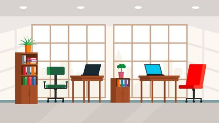 Interior of a large bright office with a large window and a panorama of the city. modern loft style teamwork center. Flat vector illustration of boss office