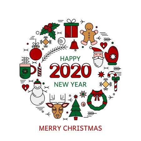 Merry Christmas and Happy New Year 2020 greeting card. Christmas frame with the symbols of the winter holidays in a linear style. Xmas concept. flat vector illustration Ilustração