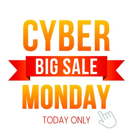 Cyber monday, big discount banner on a white background. The concept of a holiday online shopping and Christmas sales. vector illustration Иллюстрация