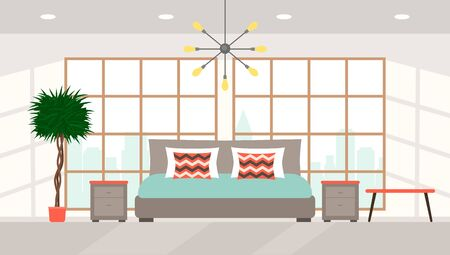 Bedroom interior with large panoramic windows overlooking the city, a large double bed in a modern high-tech style. Suite at a five-star hotel. flat vector illustration