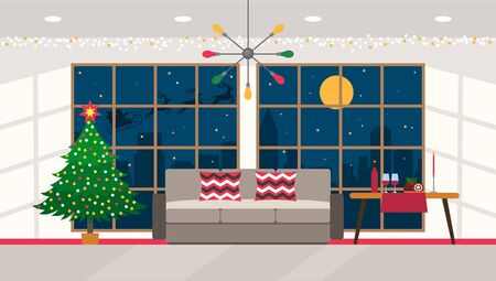 Christmas tree with a garland in the festive interior of the living room with panoramic windows and city views. Santa Claus rides on a sleigh with deers in the night sky.Xmas concept. vector