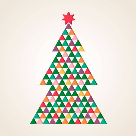 Modern geometric christmas tree of triangles with a star in a mosaic polygonal style. flat vector illustration isolated on white background