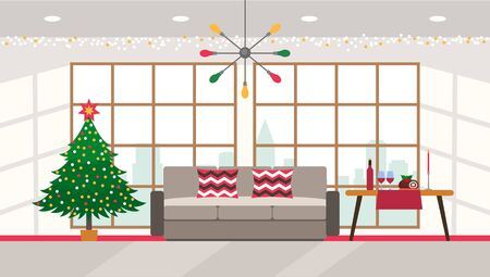 Christmas tree with a garland in the festive interior of the living room with panoramic windows and city views. Xmas concept. vector illustration