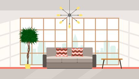 The interior of the living room with large panoramic windows with city views, upholstered furniture in modern high-tech style. flat vector illustration