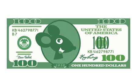 a pretty muzzle of a rat instead of a portrait of Franklin on a note in 100 US dollars. 2020 year of the rat according to the Chinese calendar. flat vector illustration isolated on white background