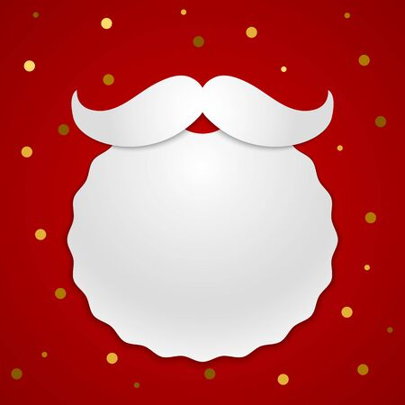 Santa Claus beard and mustache made of white paper, masquerade mask in a modern style. white illustration on a red background. Xmas concept Иллюстрация