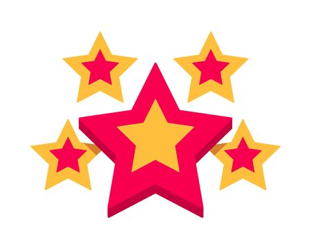 Set of trendy retro star shapes. Best-selling sticker, price tag, quality label. flat vector illustration isolated on white background.
