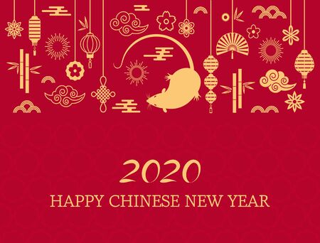 Happy Chinese New Year. The white rat is the symbol of 2020 Chinese year of the new year. Template banner, poster, greeting cards. Fan, rat, cloud, lantern, flowers. golden vector illustration Иллюстрация