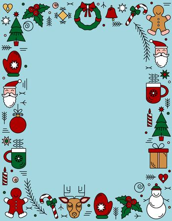 Chrismas frame of New Years linear symbols, snowflakes and stars. New year holiday element. flat vector illustration isolated on white background. Christmas concept Иллюстрация