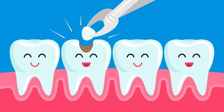 Happy friends healthy teeth sick tooth with hole. Treatment of a diseased tooth with a loba. Kawaii facial expression character. The concept of pediatric dentistry. vector illustration