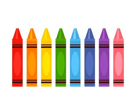 large color pencil set in rainbow colors. flat vector illustration isolated on white background