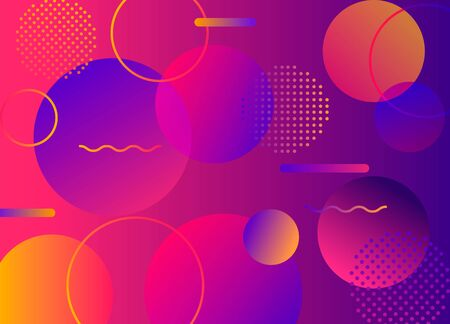 Stylized abstract banner in the style of the 80s and 90s with different Memphis symbols. mixed media vintage funky graphic clipart. vector illustration