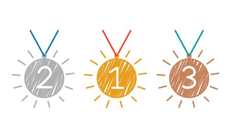 3 winner medals. gold, silver and bronze medals in the style of a hand-drawn outline, brush texture. flat vector illustration isolated on white background