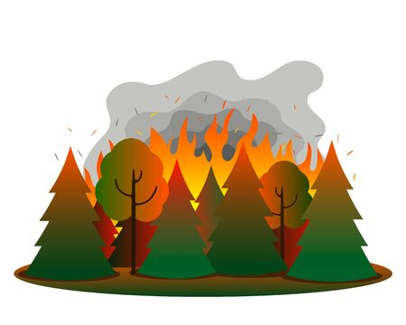Fire in a mixed coniferous forest. Tongues of flame and smoke on the background of fir trees and trees. Natural disaster concept. vector illustration Иллюстрация