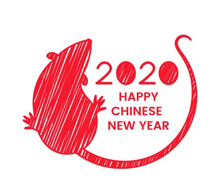 The white rat is a symbol of 2020, the Chinese New Year in outline style. Happy Chinese New Year! Template banner, poster, greeting cards. vector illustration