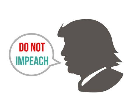 Kiev, Ukraine, December 19, 2019: Impeach U.S. President Donald Trump. Portrait of trump with the inscription impeachment. vector illustration