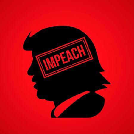 Kiev, Ukraine, December 19, 2019: Impeach U.S. President Donald Trump. Portrait of trump with the inscription impeachment vector illustration