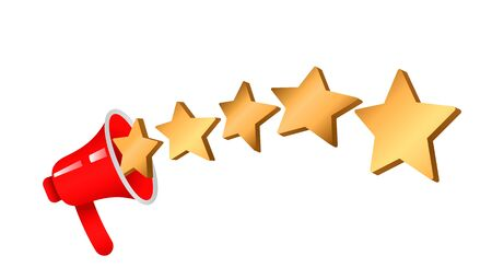 A five star customer rating product jump out of a megaphone. 5 gold stars rating. flat icon for apps and websites on white background