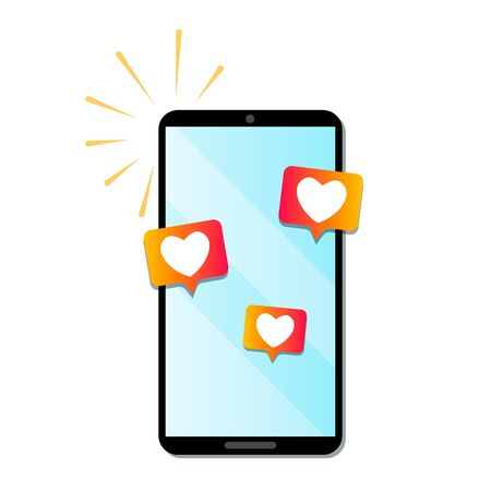 love notifications on social networks. the phone is ringing with SMS I love you. valentines day concept. Bright illustration for social networks . flat vector