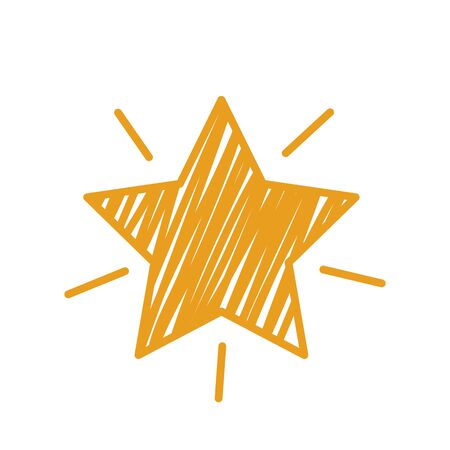 golden star with rays in handmade outline style. button for website or application. flat vector illustration isolated on white background Иллюстрация