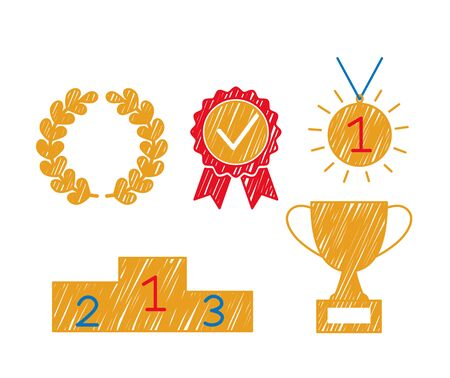 gold medal, podium, winners laurel wreath and cup in sketch style made by hand. career ladder icons in business or sport. flat vector illustration isolated on white background