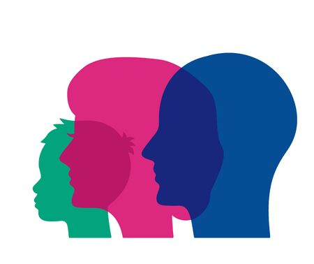 three heads of a human child, mom, father. psychology of family relations. flat vector illustration isolated on white background