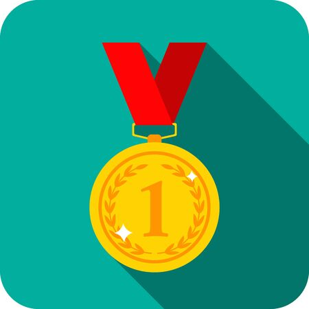 gold medal 1st place. icon in flat style with shadow. Vector Illustratie