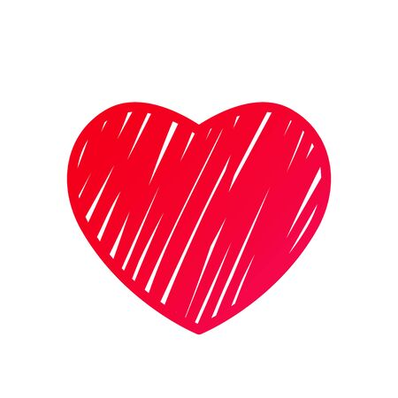 red heart in handmade outline style as a symbol of St. Valentines Day. flat vector illustration isolated on white background