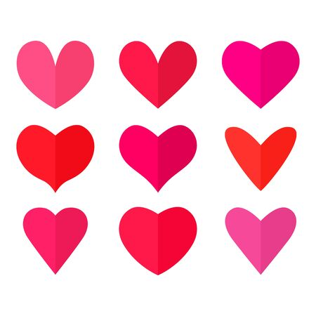 Big set of bright red and pink half heart icons in flat style. valentines day concept. vector illustration isolated on white background