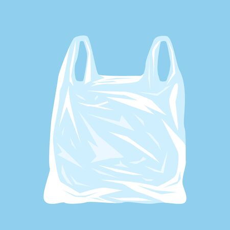 Disposable plastic bag as a symbol of environmental pollution. ecological catastrophy. Иллюстрация