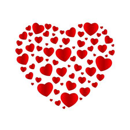 Helder roze abstract bannerhart dat uit vele harten wordt samengesteld. Het concept van Valentijnsdag, Moederdag, Valentijnsdag, bruiloft