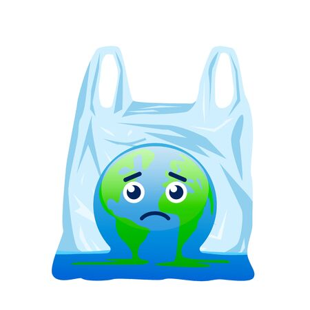 Planet Earth is melting and dying of global warming and is turning into a puddle in a disposable plastic bag.