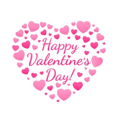 Happy Valentines Day congratulation in a big heart made up of many pink hearts. Ideal for holiday apartment design.