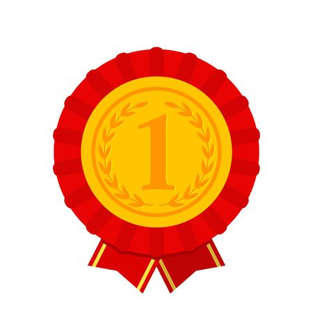 1 gold place, medal. Best Choice Award Icon. flat vector illustration isolated on white background