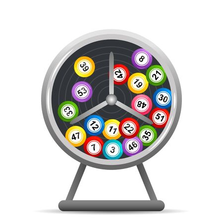 Rotate the lotto drum with bingo balls. Lottery counter. win concept. flat vector illustration isolated on white background Illustration