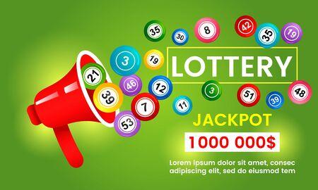 lottery bingo balls jump out of a megaphone.