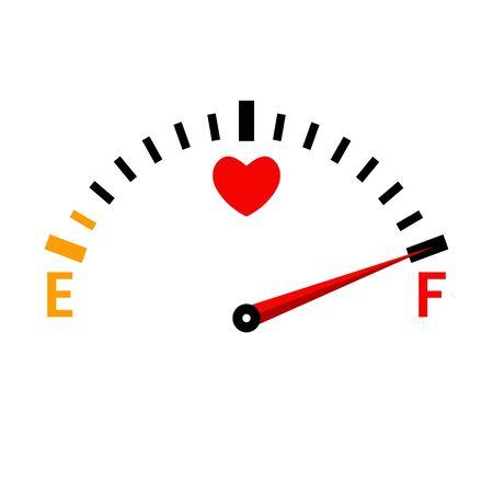 Love meter. The speedometer of love. Valentines day card design element. Vetores