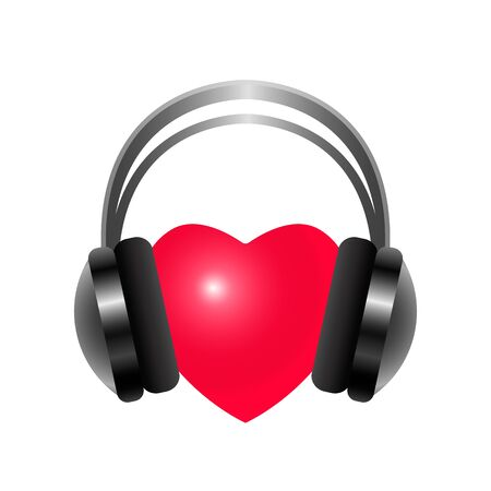 heart listens to music through headphones. vector illustration isolated on white background. Foto de archivo - 138299944