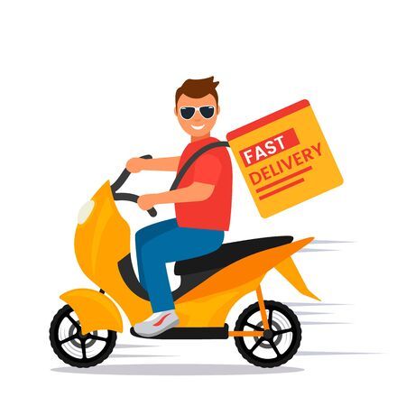 A guy on a moped quickly delivers the ordered goods. flat vector illustration isolated on white background 일러스트