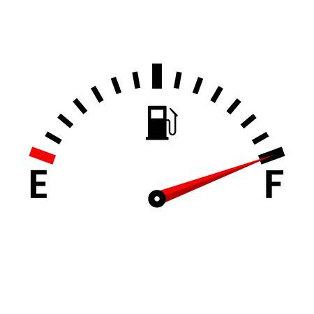 Icône de réservoir de vecteur de jauge pleine. Tableau de bord de voiture avec niveau de carburant dans le réservoir.