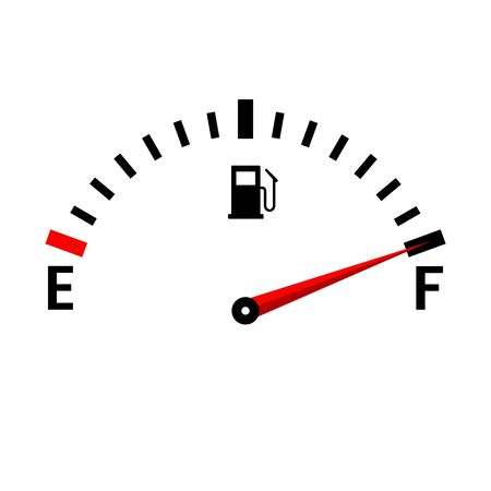 Icona del serbatoio pieno di vettore del calibro. Cruscotto auto con livello carburante nel serbatoio.