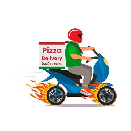 Consegna della pizza super veloce su un ciclomotore su ruote antincendio. Carattere giovane piatto illustrazione vettoriale isolato su sfondo bianco.